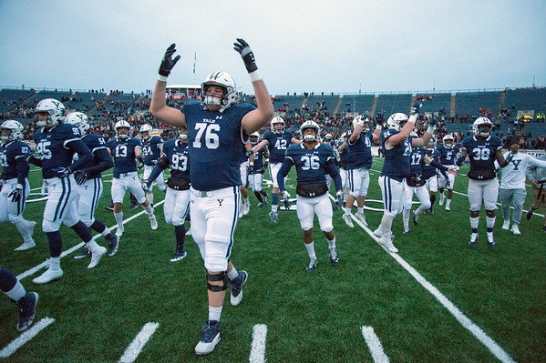 11/23/19 Wesley Bunnell | Staff Yale rallied late in The Game against Harvard on Saturday afternoon at the Yale Bowl for a 50-43 victory in double over time. Yale walks off the field after the go ahead touchdown in double OT.
