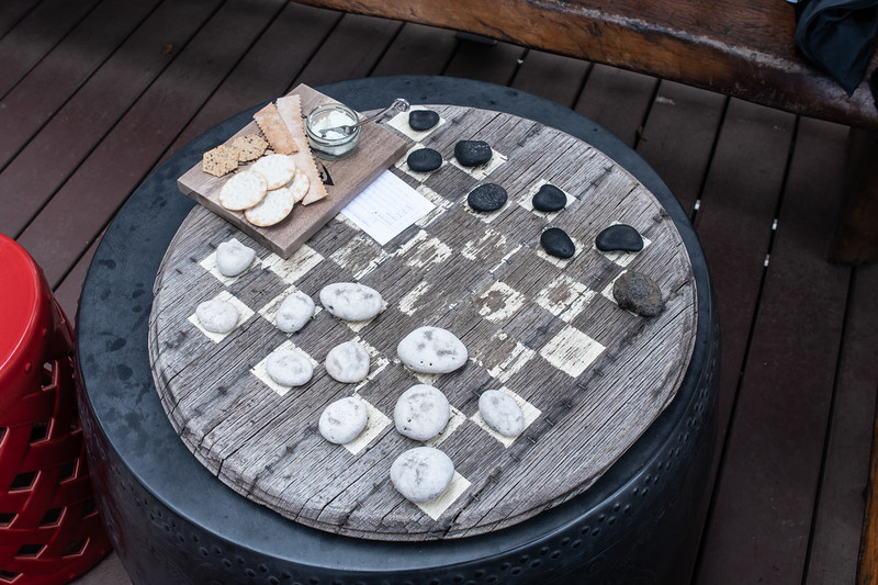 Ordered cheese and crackers on the deck, and played a few games of checkers with our wine.  It was a beautiful afternoon.