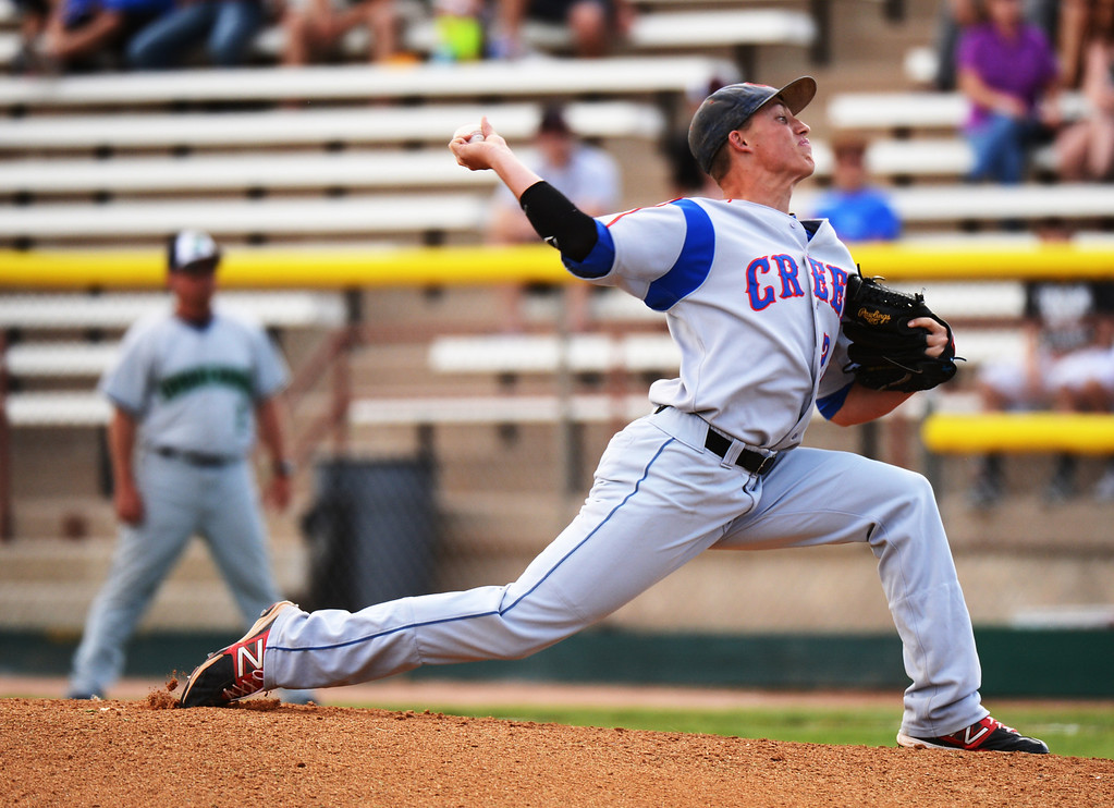 . DENVER, CO. - MAY 24 : Griffin Rax of Cherry Creek High School pitches against ThunderRidge High School during semifinal round of 5A State Championships baseball game at All City Field. Denver, Colorado. May 24, 2013. ThunderRidge won 5-1. (Photo By Hyoung Chang/The Denver Post)