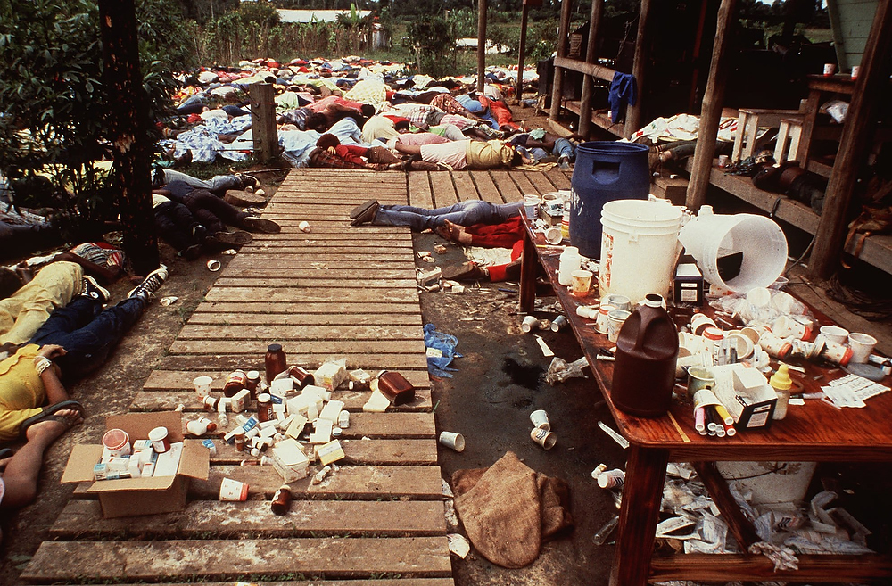 . Bodies are strewn around the Jonestown Commune in Guyana where more than 900 members of the People\'s Temple cult committed suicide in 1978. The Rev. Jim Jones urged his disciples to drink cyanide-laced grape punch claiming they would be transported to another planet where they would live in peace in a new eden avoiding the nuclear fire that would engulf the earth. Jones, who was among those who died, led the Peoples Temple, which ran a free clinic and a drug rehabilitation program.(AP Photo/file)