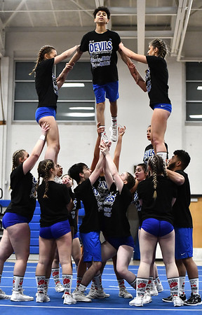 3/6/2020 Mike Orazzi | StaffrPlainville High School Cheerleaders while preparing for the state competition on Friday night at PHS. r