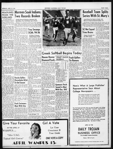 Daily Trojan, Vol. 31, No. 124, April 15, 1940