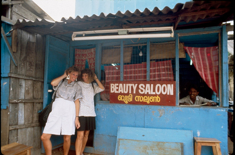 at the saloon in Trivandrum, India