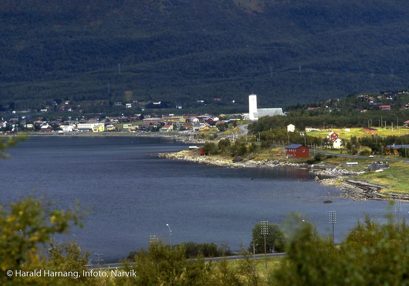 Bjerkvik fotografert fra Medby.