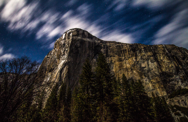 El Capitan With Stars And Clouds Under Moonlight, Yosemite National Park, California, USA, North America