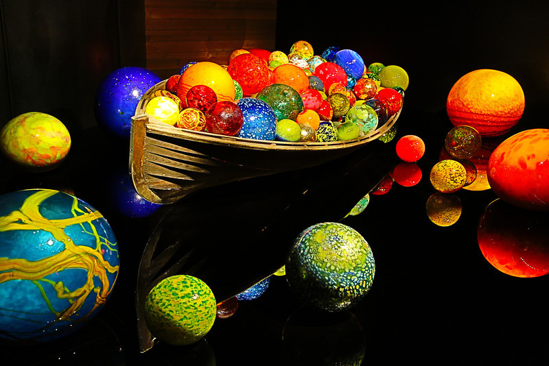 Boat and glass balls.