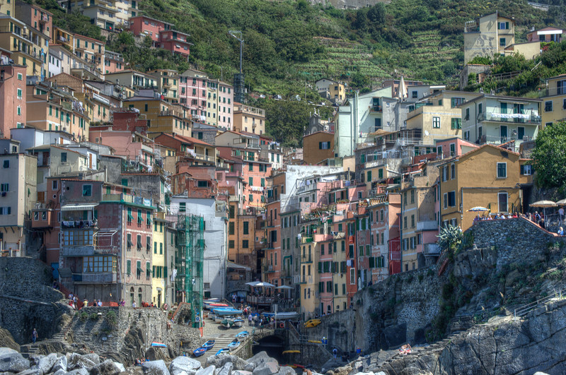 View of the buildings on a hill at Cinque Terre, Italy