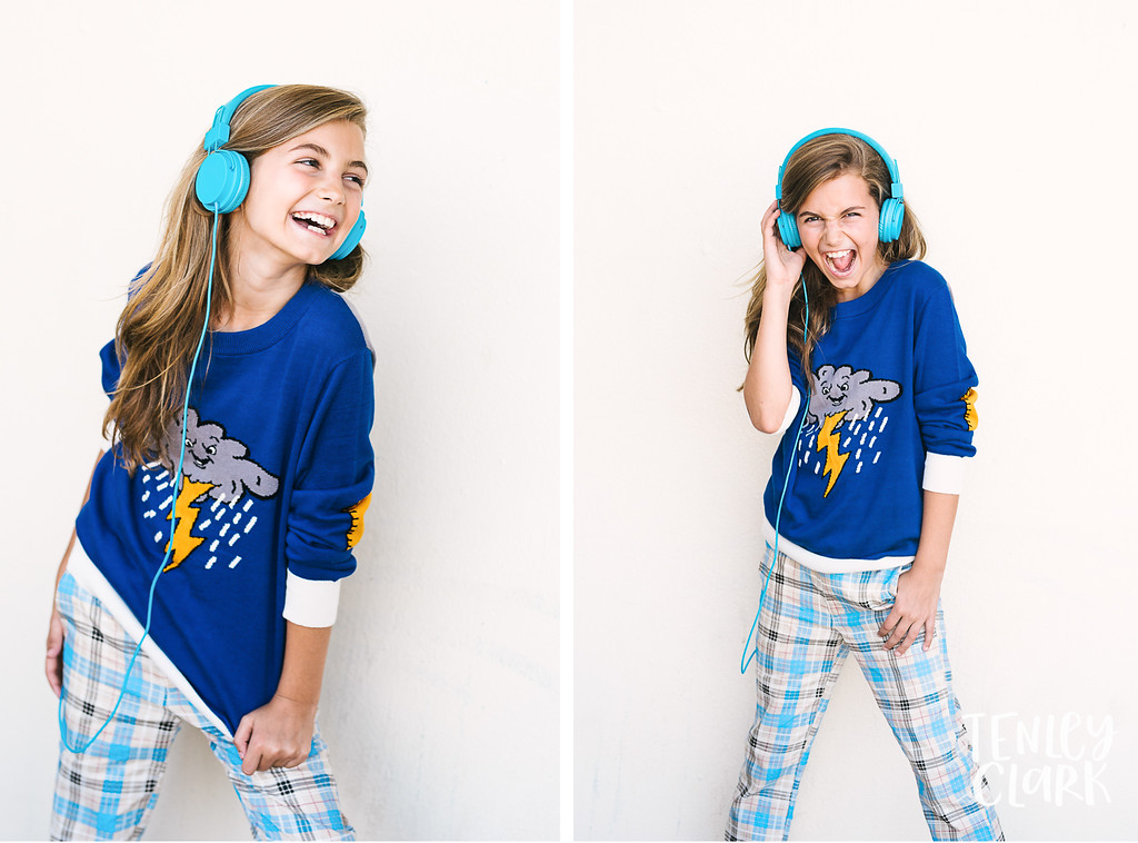 Girl wearing headphones and colorful outfit by La Miniatura. Model: Chloe (JE Kids). Photography: Tenley Clark.