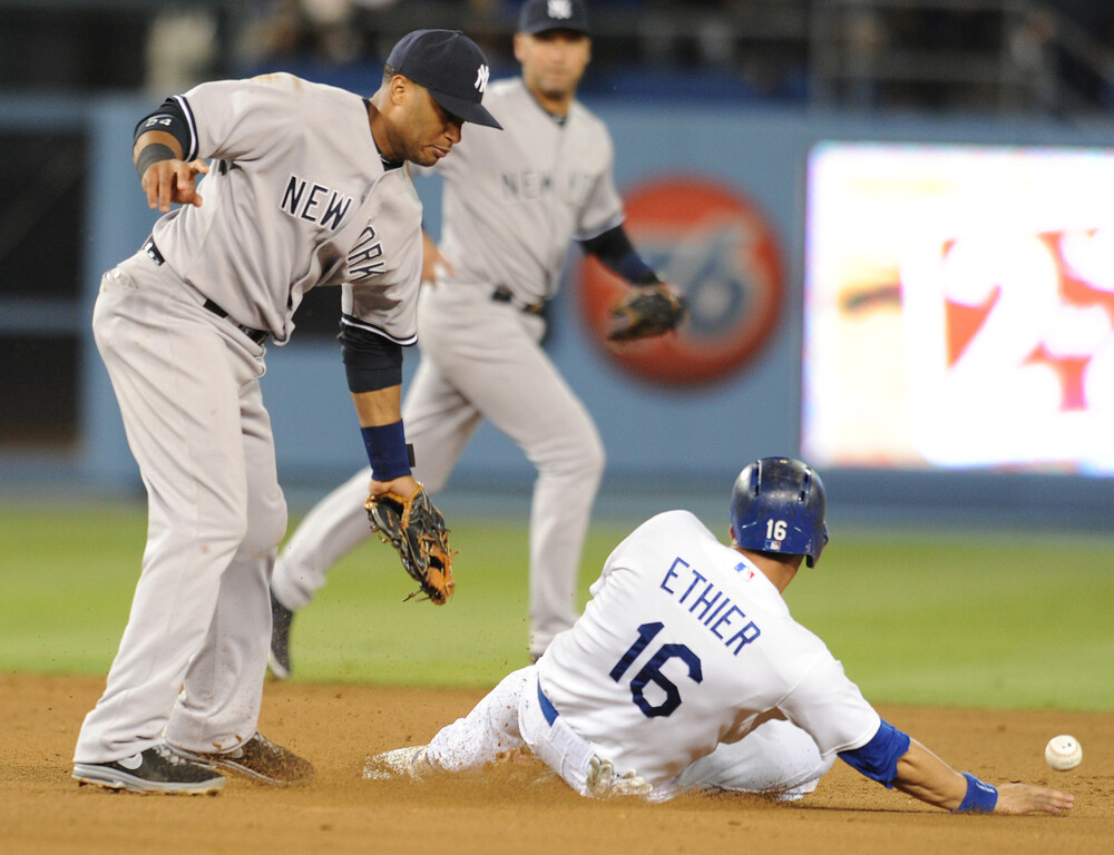 . Dodgers Andre Ethier steals 2nd in the 9th inning. The Dodgers defeated  the NY Yankees 3-2 in a game at Dodger Stadium in Los Angeles, CA. 7/30/2013(John McCoy/LA Daily News)
