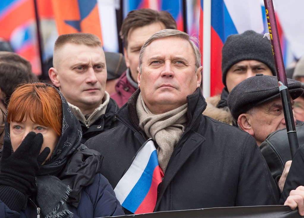 . Opposition activist and former Russian Prime Minister Mikhail Kasyanov (C) takes part in a march in memory of murdered Kremlin critic Boris Nemtsov in central Moscow on March 1, 2015. The 55-year-old former first deputy prime minister under Boris Yeltsin was shot in the back several times just before midnight on February 27 as he walked across a bridge a stone\'s throw from the Kremlin walls. ALEXANDER UTKIN/AFP/Getty Images