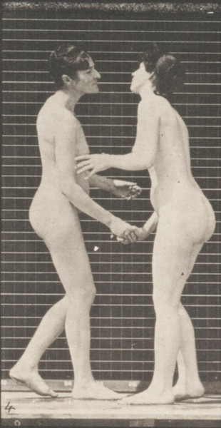 Two nude women shaking hands and kissing each other