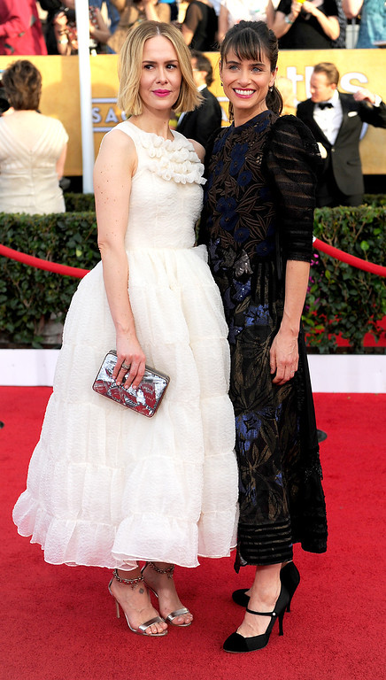 . Sarah Paulson and Amanda Peet arrives at the 20th Annual Screen Actors Guild Awards  at the Shrine Auditorium in Los Angeles, California on Saturday January 18, 2014 (Photo by Michael Owen Baker / Los Angeles Daily News)