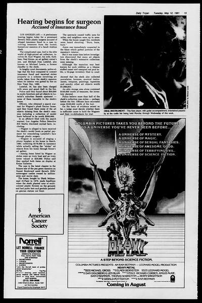 Daily Trojan, Vol. 90, No. 60, May 12, 1981