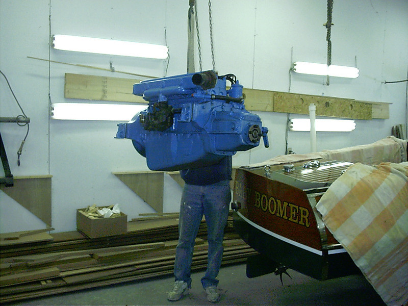 Engine removed from boat.