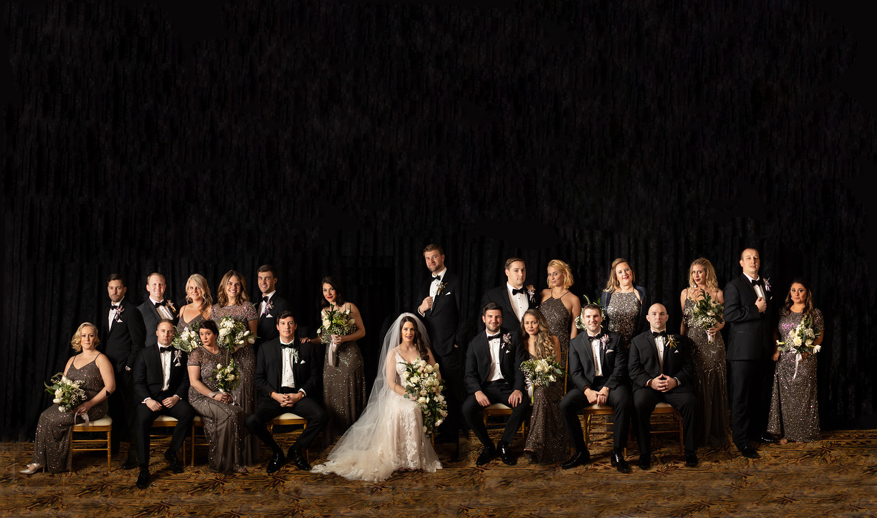 Formal bridal party portrait for Lizzie and Craig's New Year's Eve wedding in Washington DC.  This is a composite bridal party portrait.