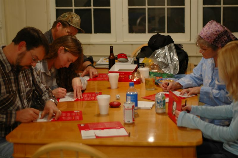 Deep concentration during Scattergories.