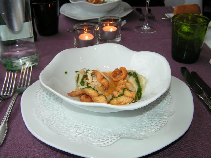 """""""Kreeftenravioli in zijn jus met croutons van Zeebrugse zeetong"""" (Lunch-02-01-2009)"""
