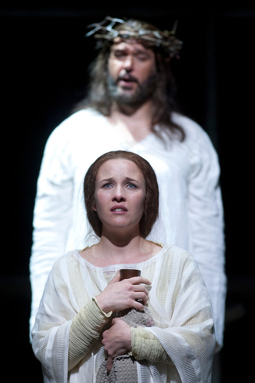 ". Sasha Cooke, bottom, portrays Mary Magdalene, and Nathan Gunn plays Yeshua (Jesus) in San Francisco Opera\'s world premiere of Mark Adamo\'s ""The Gospel of Mary Magdalene,\"" Sunday, June 16, 2013 at the War Memorial Opera House in San Francisco. (D. Ross Cameron/Bay Area News Group)"