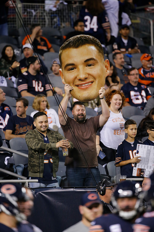 . A fan at Soldier Field holds a sign with the likeness of Chicago Bears quarterback Mitchell Trubisky before an NFL football game between the Bears and Minnesota Vikings, Monday, Oct. 9, 2017, in Chicago. (AP Photo/Charles Rex Arbogast)