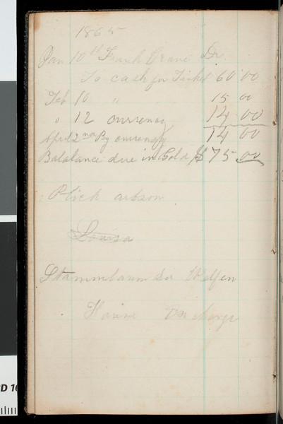 Account book/diary of Benjamin Bennett Briggs, 1862