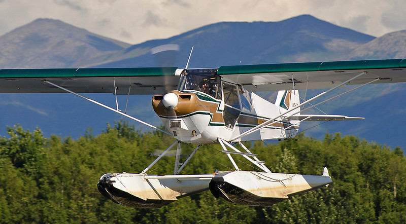 Final approach, Lake Hood seaplane base, Anchorage, AK.