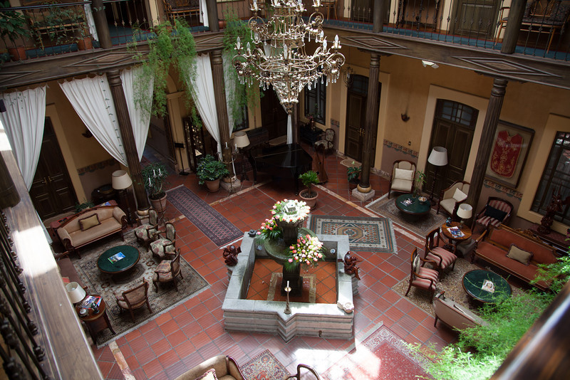 The central lobby of our hotel, Mansion Alcazar.