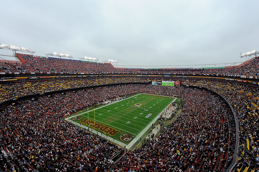 Description of . LANDOVER, MD - DECEMBER 09:  A general view of the opening kickoff of a game between the Baltimore Ravens and Washington Redskins at FedExField on December 9, 2012 in Landover, Maryland.  (Photo by Patrick McDermott/Getty Images)