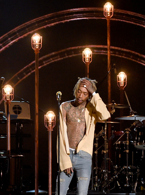 . Wiz Khalifa performs at the Billboard Music Awards at the MGM Grand Garden Arena on Sunday, May 17, 2015, in Las Vegas. (Photo by Chris Pizzello/Invision/AP)