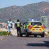 The Royal Gibraltar Police during patrols of western shorelines with La Linea, Spain clearly in the background.