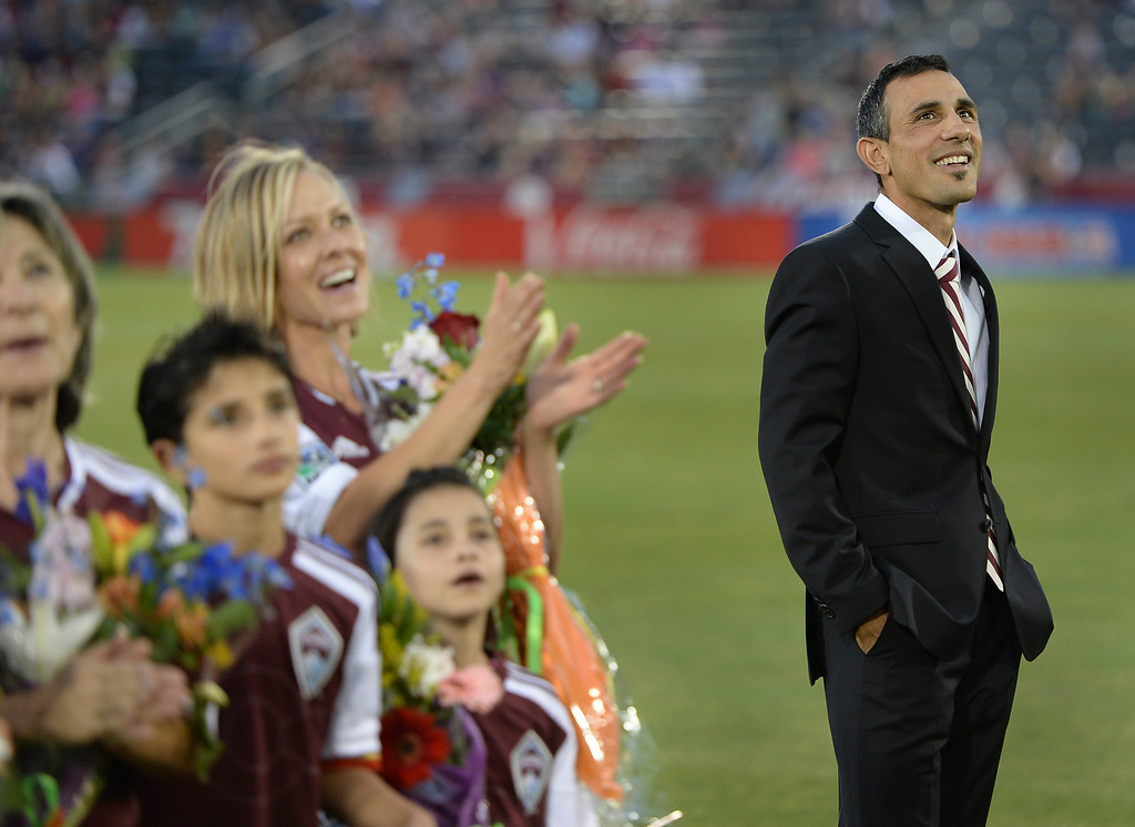 . Colorado coach Pablo Mastroeni watched as he was honored with a spot on the team\'s gallery of honor at the stadium Friday night. The Colorado Rapids hosted Chivas USA at Dick\'s Sporting Goods Park Friday night, July 25, 2014. Photo by Karl Gehring/The Denver Post