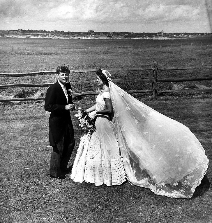 . Sen. Kennedy and Jacqueline  pose for wedding-day photos on Sept. 12, 1953, at Hammersmith Farm in Newport, R.i. The Toni Frissell Collection, Library of Congress