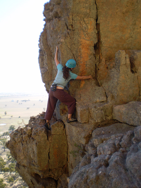 Amanda doing the traverse around the pinnacle on Tiptoe Ridge.  There is a nice big drop directly below her feet here.  Photo: Matt.