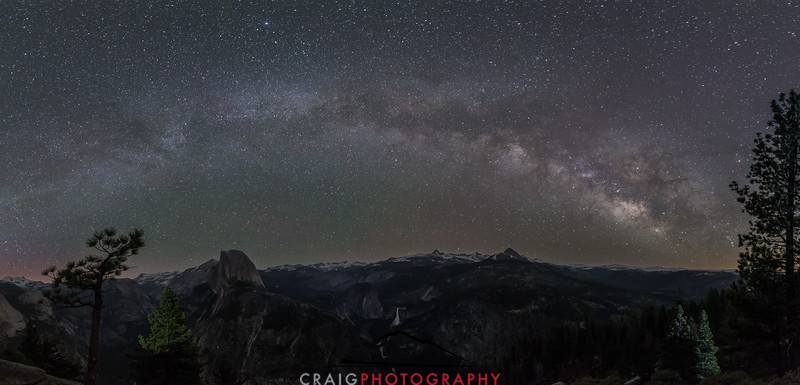 Milky way and Aurora over Yosemite 1 Panorama