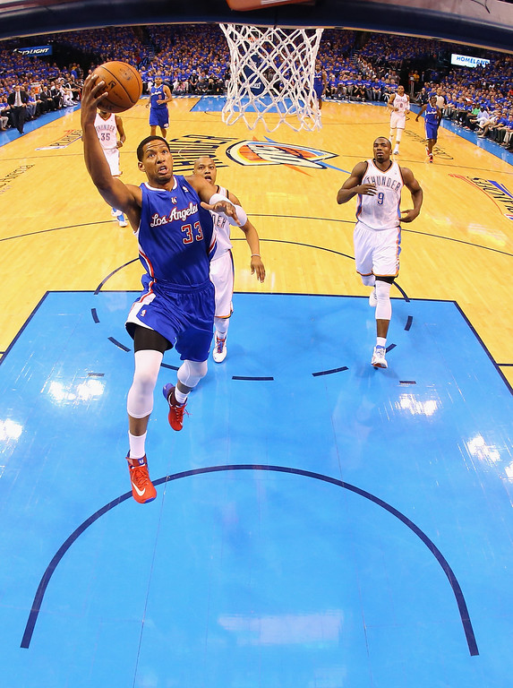 . Danny Granger #33 of the Los Angeles Clippers takes a shot against the Oklahoma City Thunder in Game One of the Western Conference Semifinals during the 2014 NBA Playoffs at Chesapeake Energy Arena on May 5, 2014 in Oklahoma City, Oklahoma.   (Photo by Ronald Martinez/Getty Images)