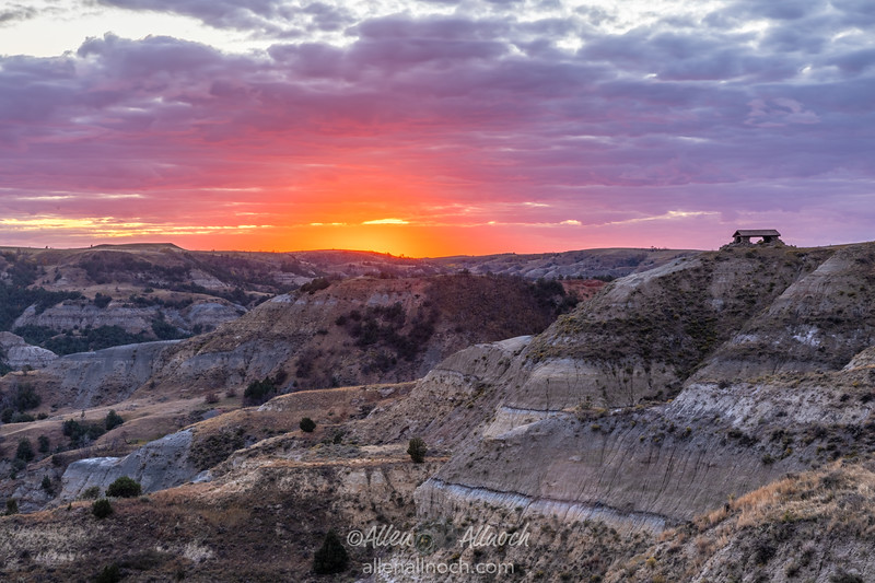 Intense Sunset in Theodore Roosevelt National Park