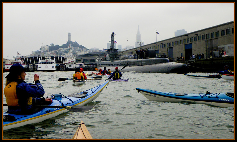 Bobbing around in front of the USS Pampanito, while waiting for a LOT of ferry traffic to pass.  http://www.maritime.org/pamphome.htm