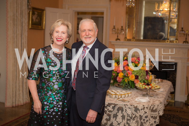 Lisa Barry, James Gale,  50th Annual Meridian Ball Leadership Committee Reception at the Blair House, co-hosted with Ambassador Sean P. Lawler.  September 13, 2018, Photo by Ben Droz.