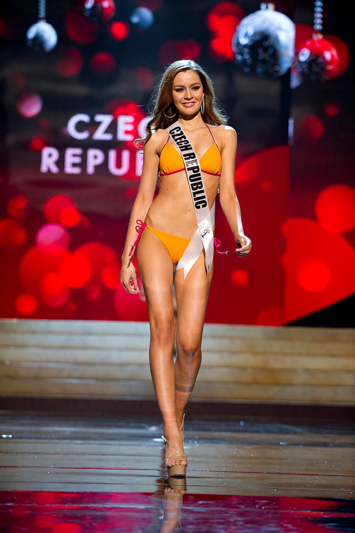. Miss Czech Republic Tereza Chlebovska competes in her Kooey Australia swimwear and Chinese Laundry shoes during the Swimsuit Competition of the 2012 Miss Universe Presentation Show at PH Live in Las Vegas, Nevada December 13, 2012. The 89 Miss Universe Contestants will compete for the Diamond Nexus Crown on December 19, 2012. REUTERS/Darren Decker/Miss Universe Organization/Handout