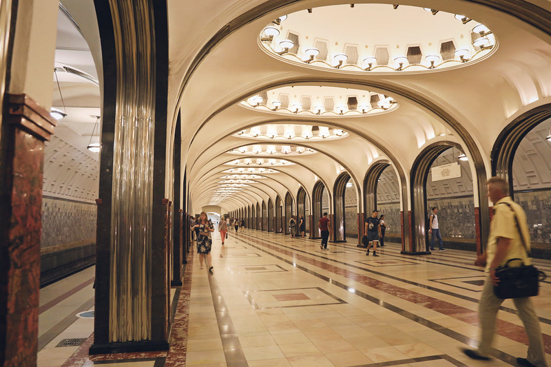 Inside the Moscow Metro in Russia