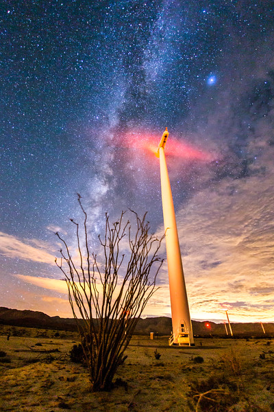Ocotillo, wind turbine, and the Milky Way