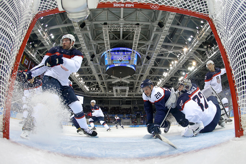 . Blake Wheeler #28 of United States attempts a shot at goal against Slovakia during the Men\'s Ice Hockey Preliminary Round Group A game on day six of the Sochi 2014 Winter Olympics at Shayba Arena on February 13, 2014 in Sochi, Russia.  (Photo by Brian Snyder-Pool/Getty Images)