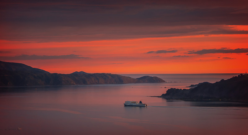 Inter islander Ferry Leaving Wellington Harbour at Sunset