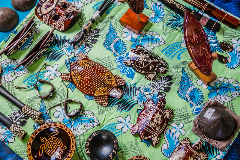 Handmade items for sale at the Nadi Town Market in Fiji