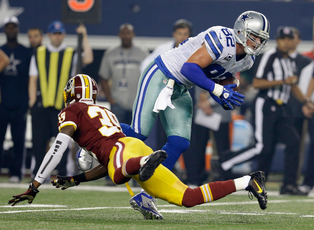 . Dallas Cowboys tight end Jason Witten (82) gets by a tackle attempt by Washington Redskins free safety David Amerson (39) for extra yardage in the first half of an NFL football game, Sunday, Oct. 13, 2013, in Arlington, Texas. (AP Photo/LM Otero)