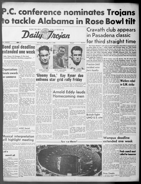Daily Trojan, Vol. 37, No. 22, December 03, 1945
