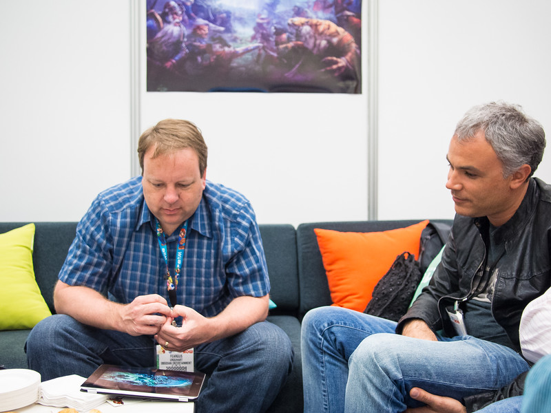 Feargus Urquhart and Sergey Orlovsky at E3 2013