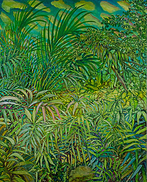 "© 2010 John Rachell Title:  Garden, January 14, 2010 Image Size:  48"" w by 60"" d Dated:  January 14, 2010 Medium & Support:  Oil on Canvas Signed: LR Signature"