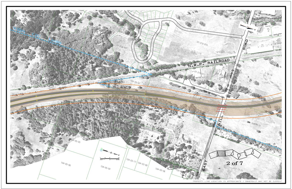 Description of . East Hill Road crossing shown in CalTrans drawing of Willits bypass project.