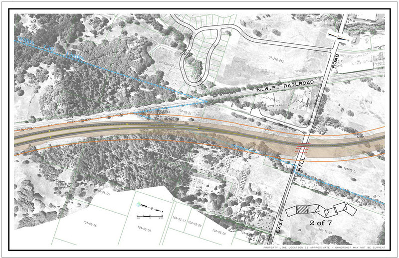 . East Hill Road crossing shown in CalTrans drawing of Willits bypass project.