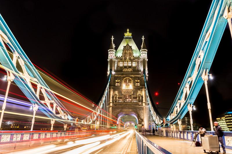Light trails on Tower Bridge.